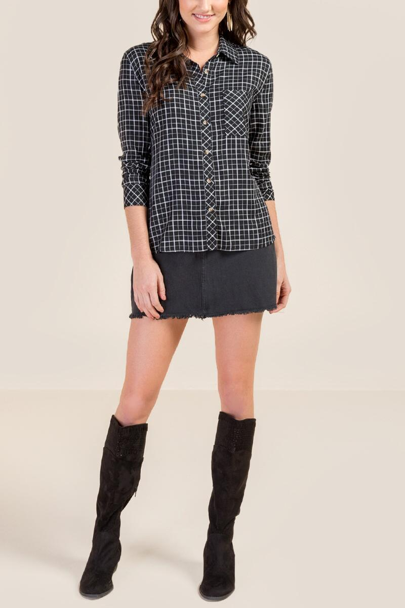 Kelsey Classic Plaid Button Down Top- Black 4