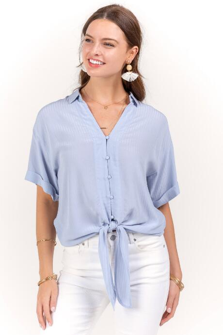 Wren Front Knot Button Down Top