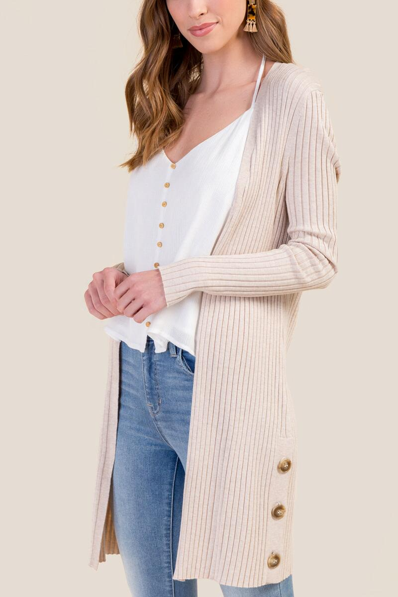 Amelia Rib Knit Duster-  hthot-cl