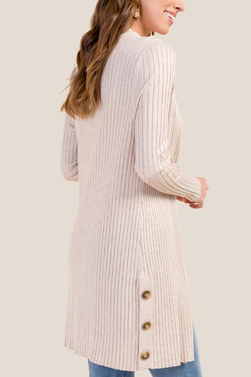Amelia Rib Knit Duster-  hthot-cl2