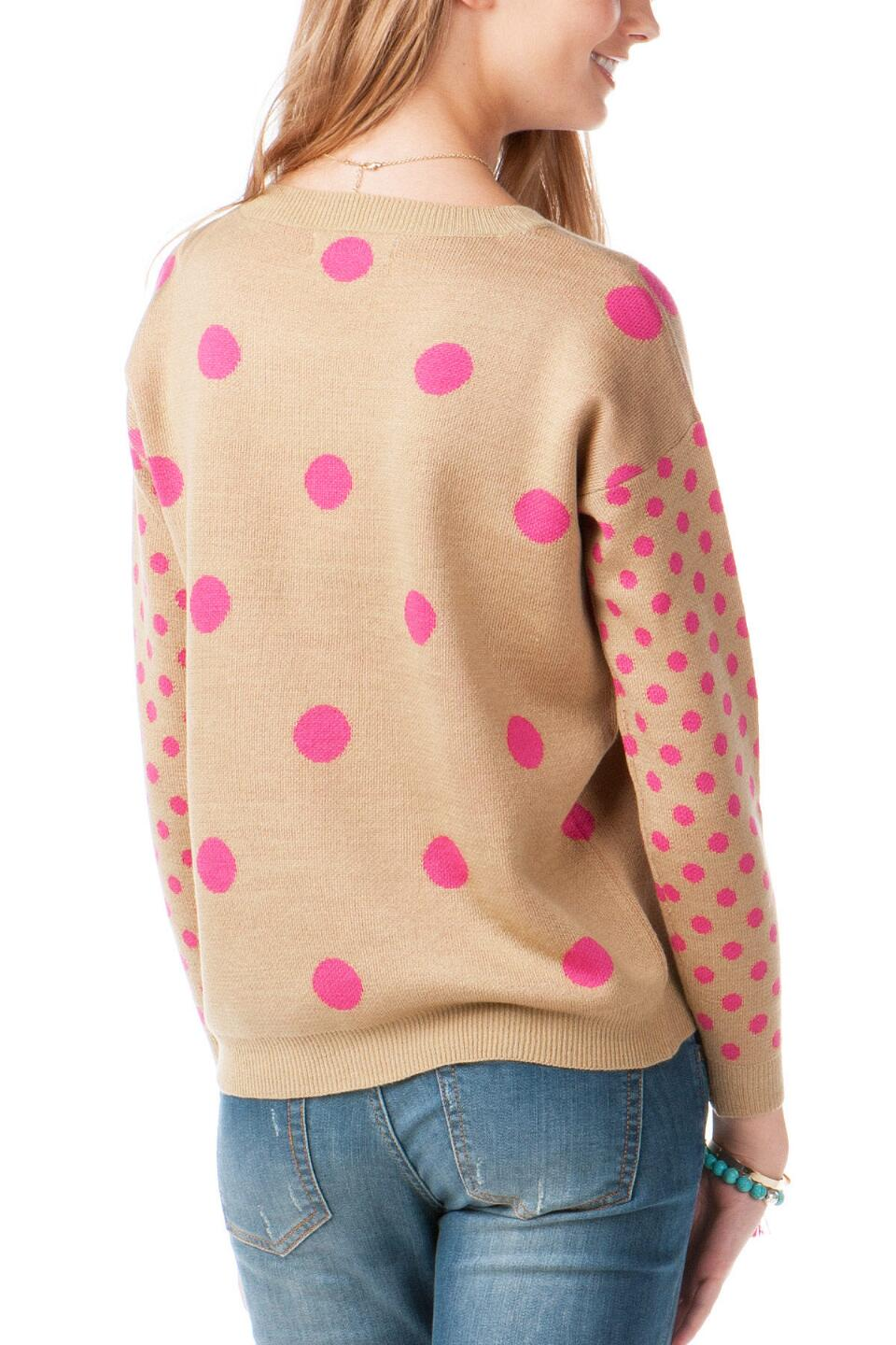 Clifton Polka Dot Sweater -  beige-clback