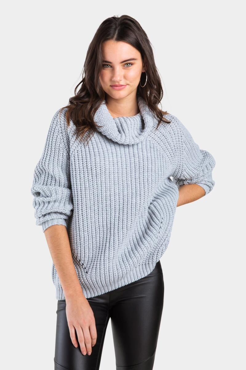 Ongel Shaker Pullover Sweater-Heather Gray