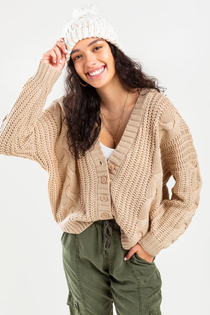Lexxy Button Cable Knit Cardigan