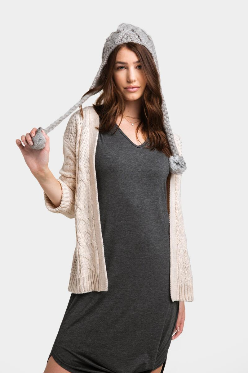 Gwenn Open Cable Cardigan-Heather Oat
