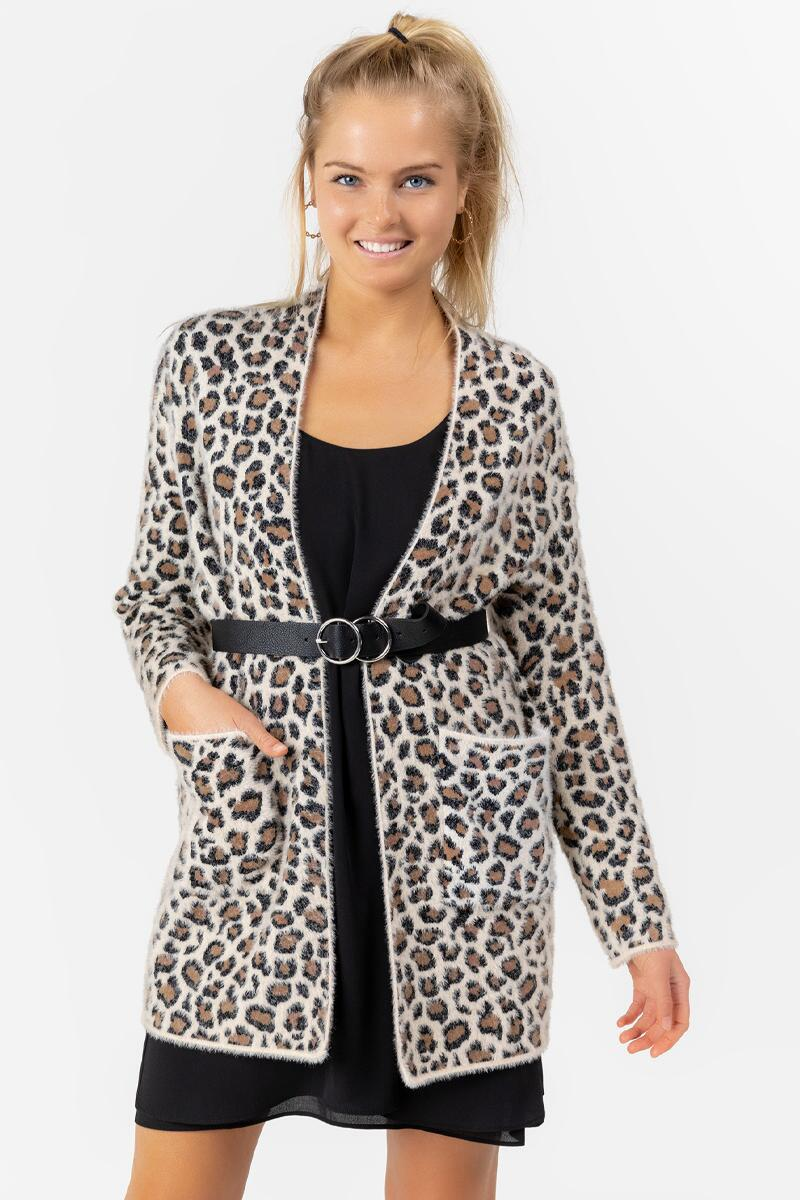 Brett Animal Print Cardigan-  taup-cl