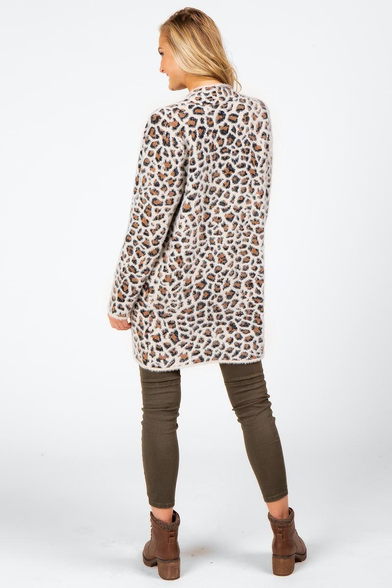 Brett Animal Print Cardigan-  taup-cl2