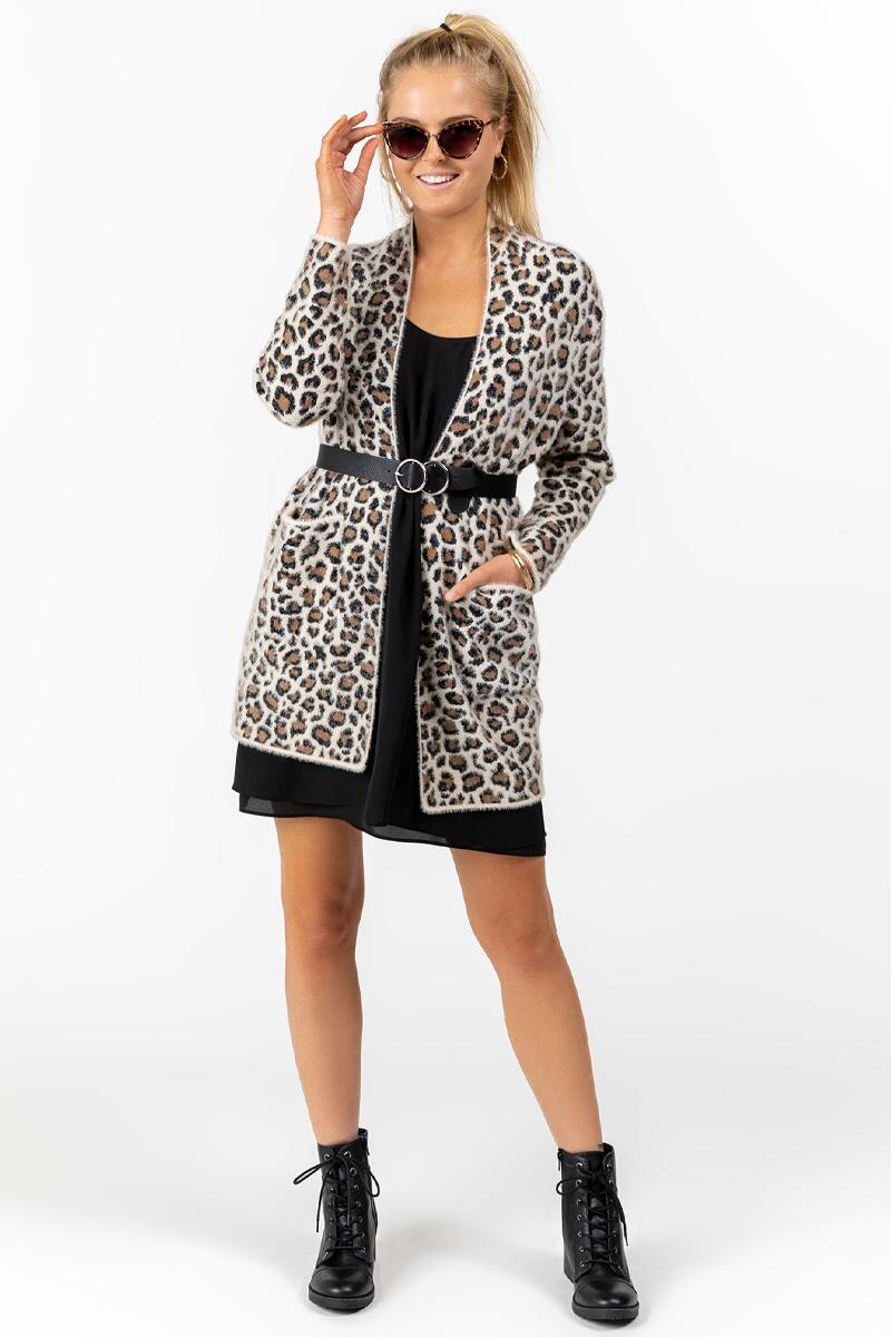 Brett Animal Print Cardigan-  taup-cl3