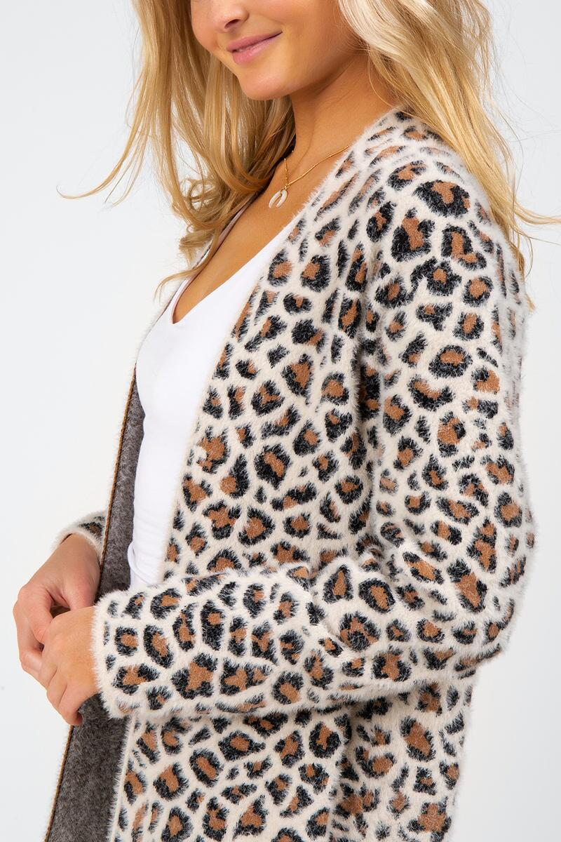 Brett Animal Print Cardigan-  taup-cl4