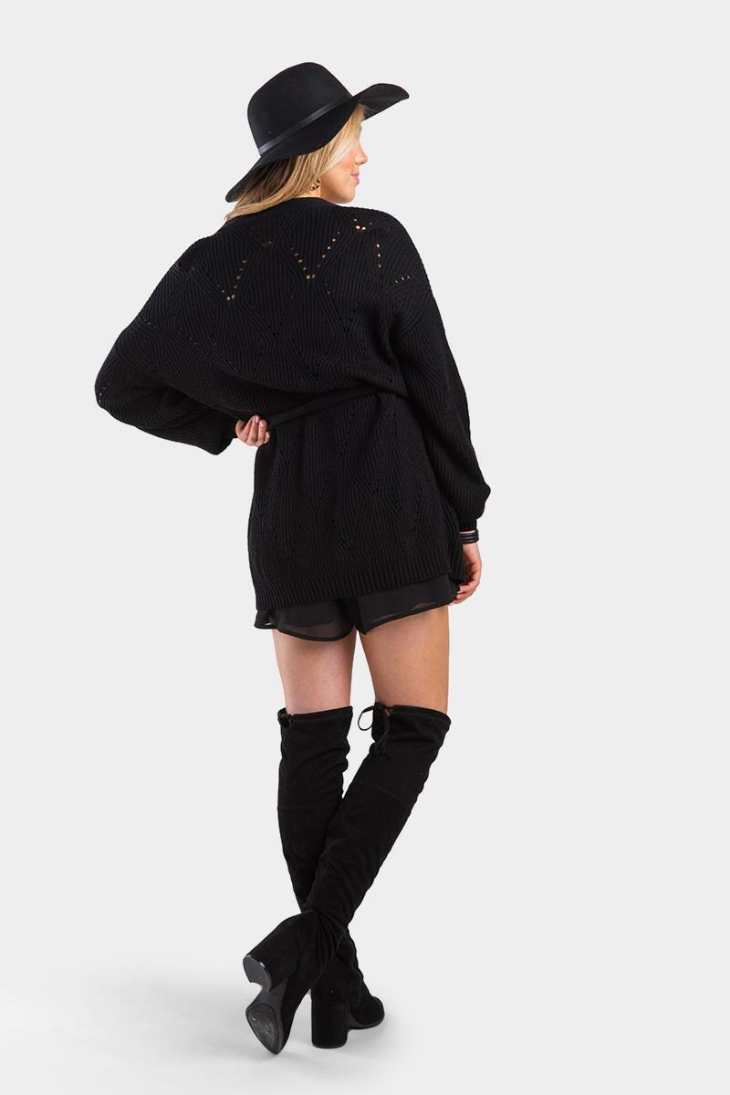 Janelle Pointelle Wrap Cardigan-Black 3