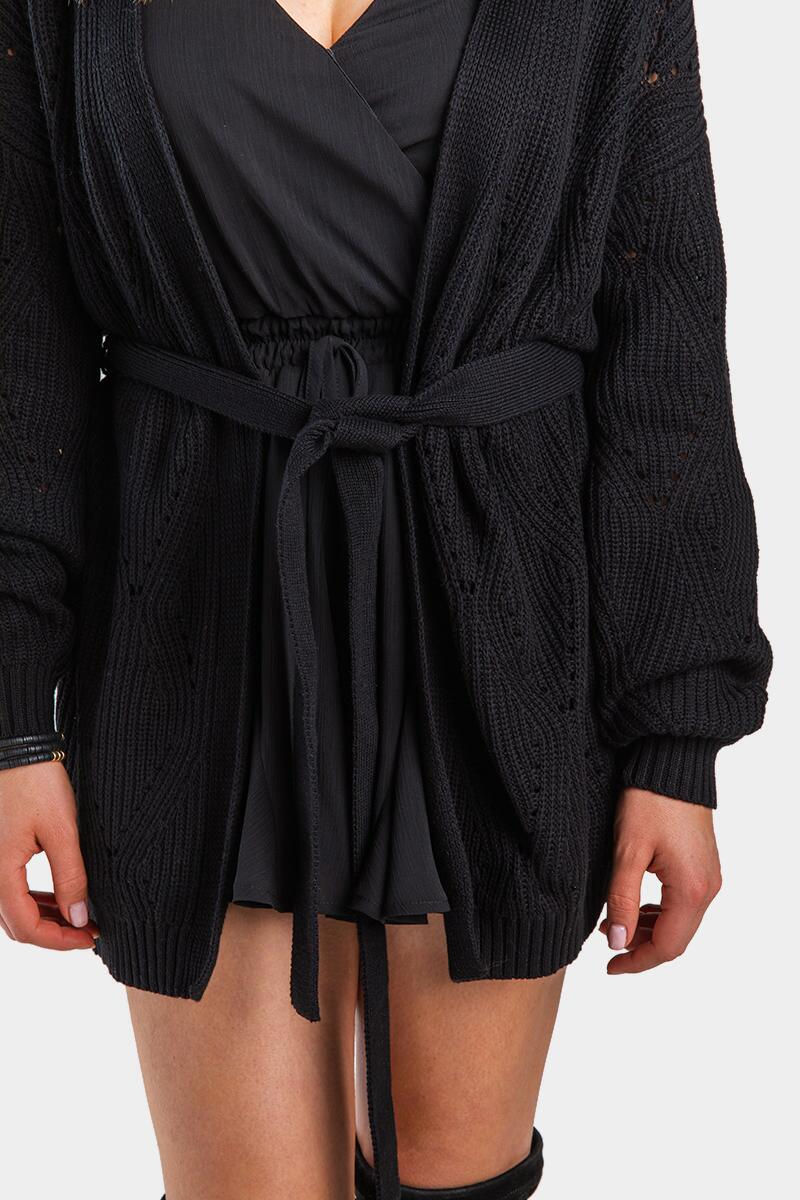 Janelle Pointelle Wrap Cardigan-Black 4
