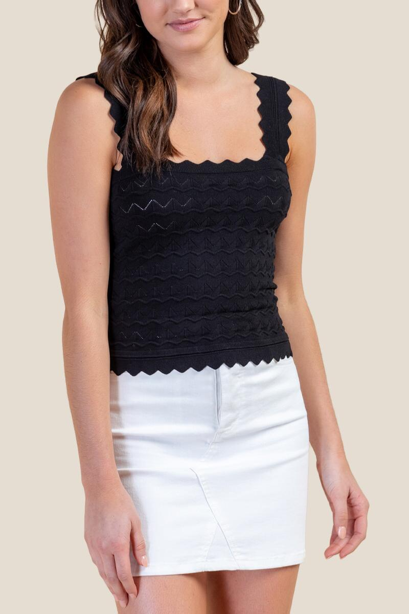 Renee Scalloped Edge Tank Top-Black