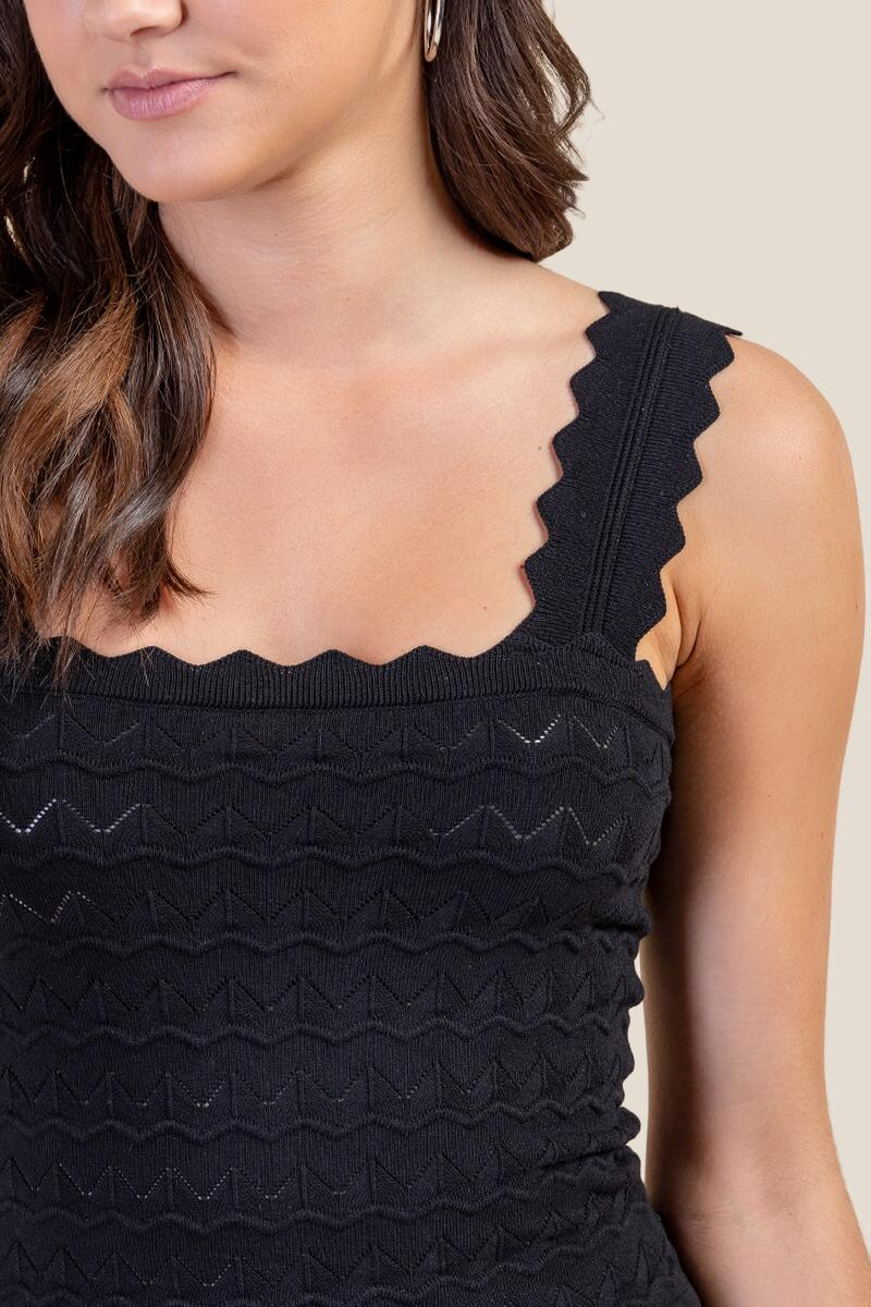 Renee Scalloped Edge Tank Top-Black 3