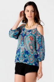 Kingston Printed Cold Shoulder Blouse