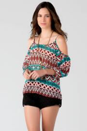Soriano Printed Cold Shoulder Blouse