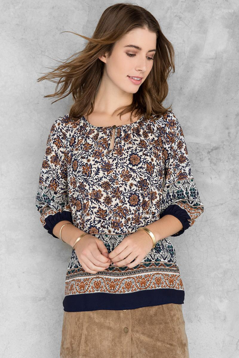 Helina Printed Blouse-  blue-cl