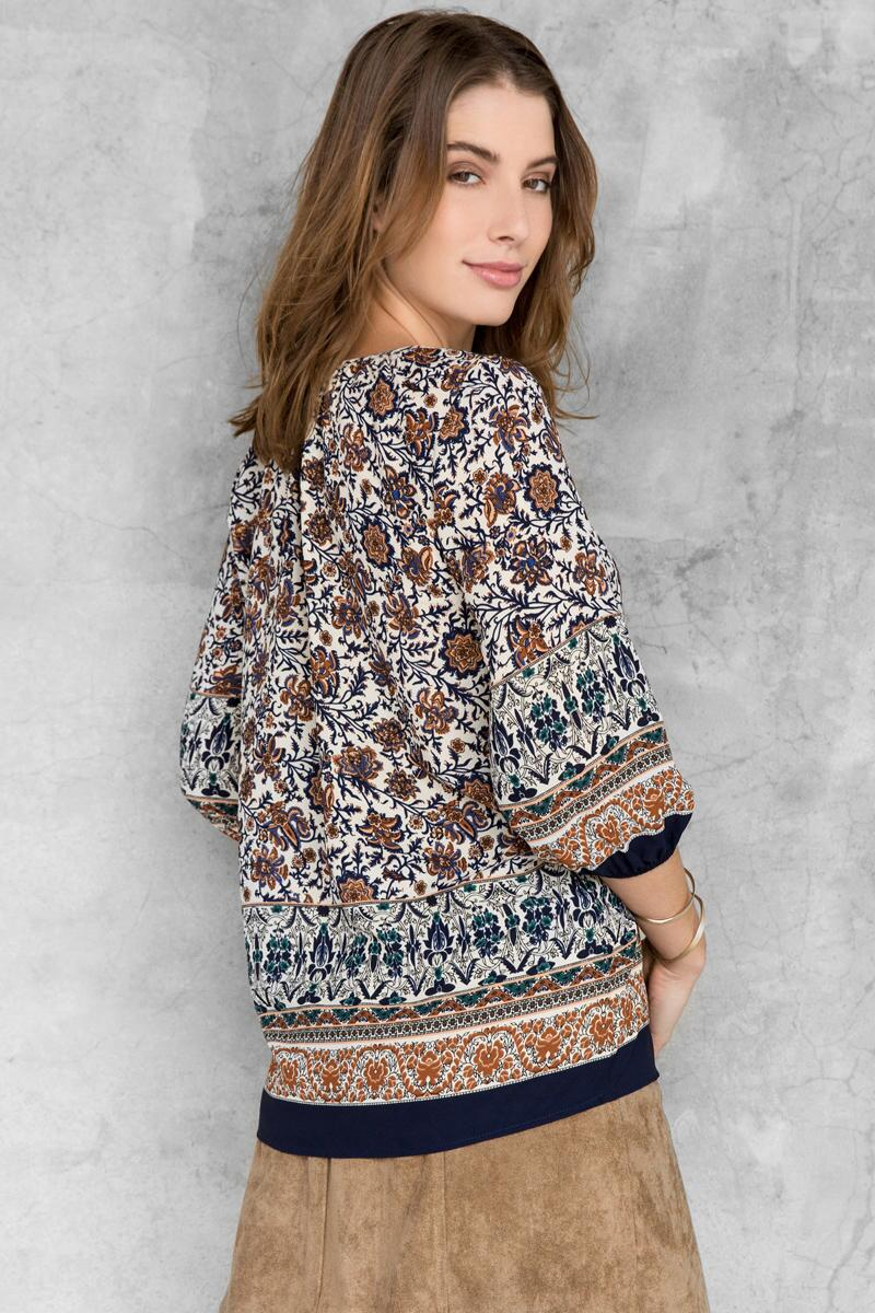 Helina Printed Blouse-  blue-clback