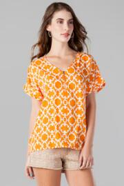 Olyvia Printed Zipper Top