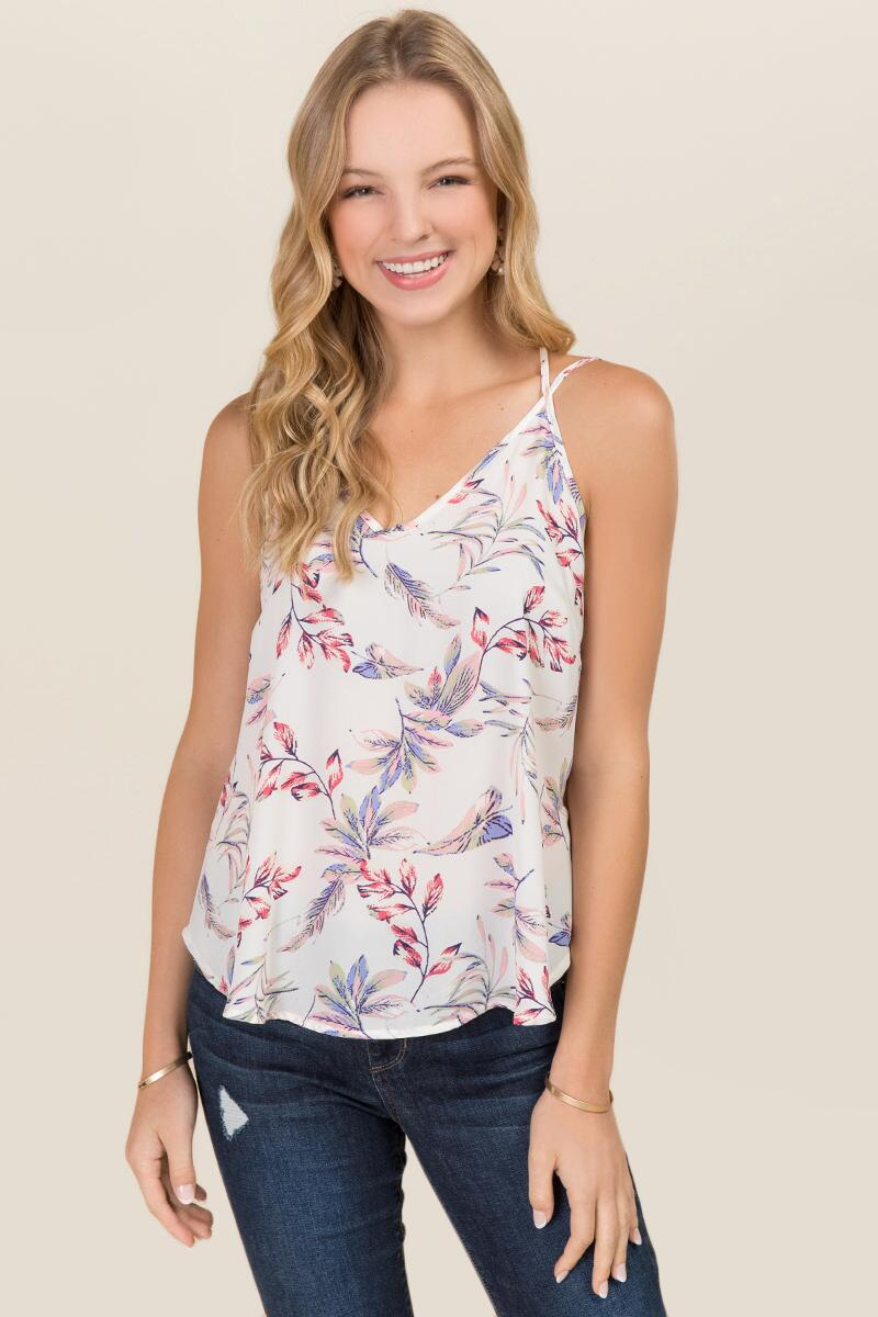 Marlene Strappy Floral Tank-  white-cl