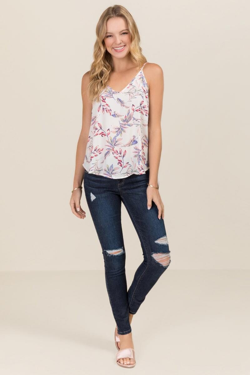 Marlene Strappy Floral Tank-  white-clmodel