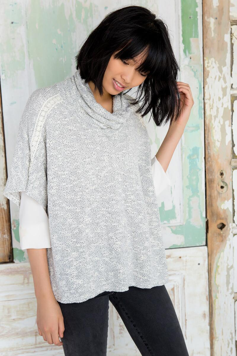 Calder Poncho Sweater-  gray-cl