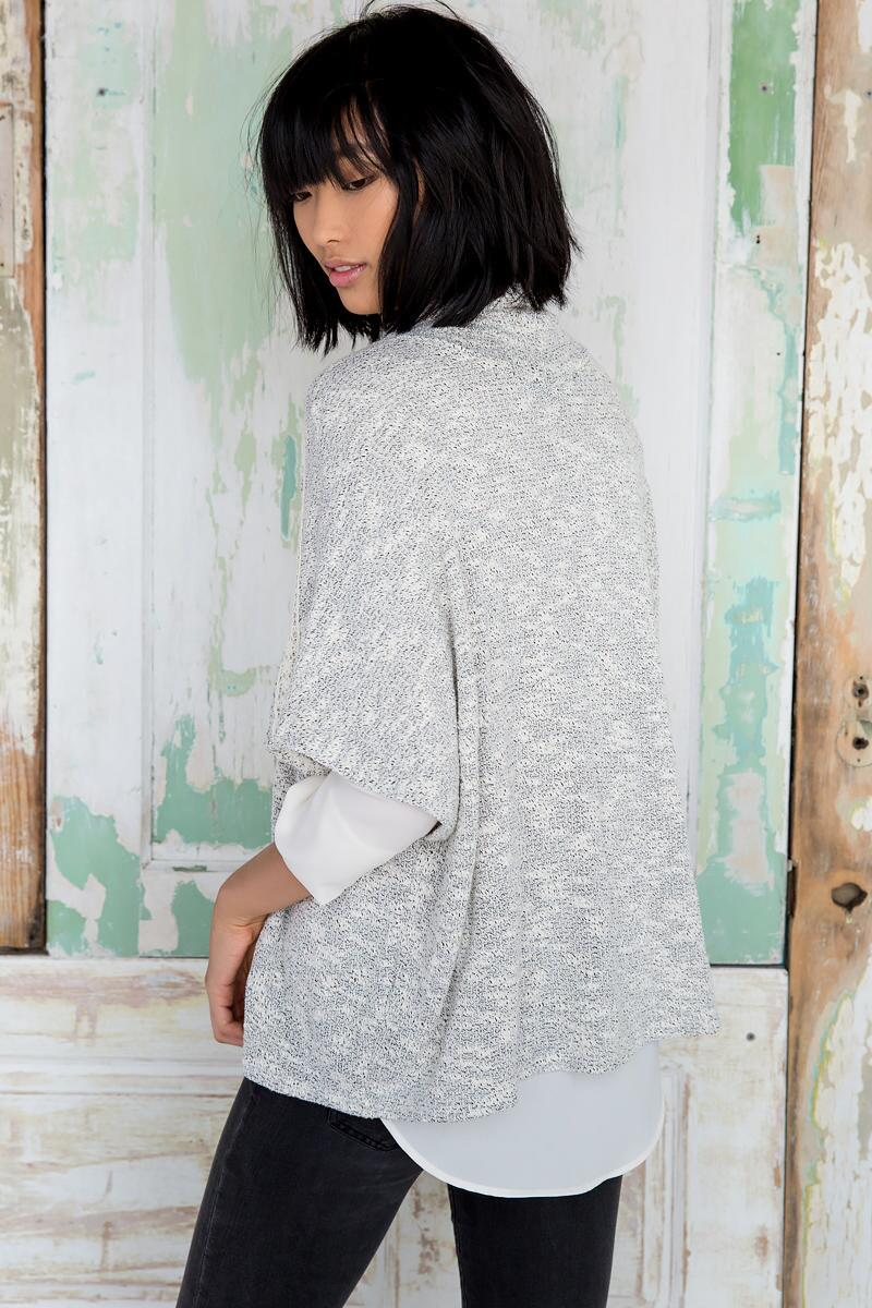 Calder Poncho Sweater-  gray-clback
