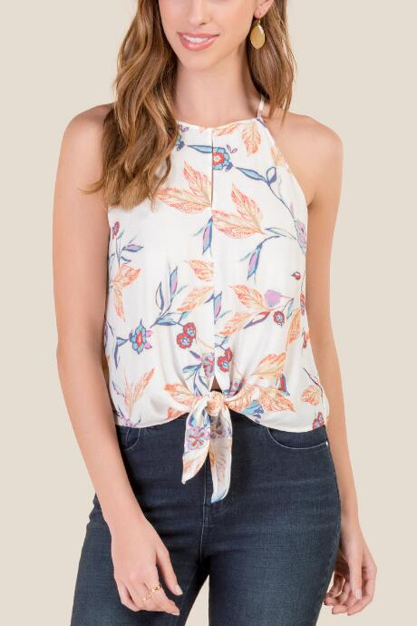 Ari Floral High Neck Tank Top