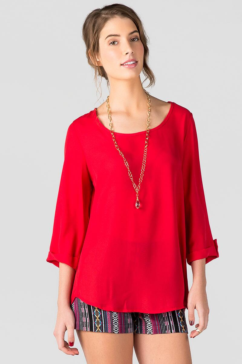 Stadium Solid Blouse in Red-  red-cl