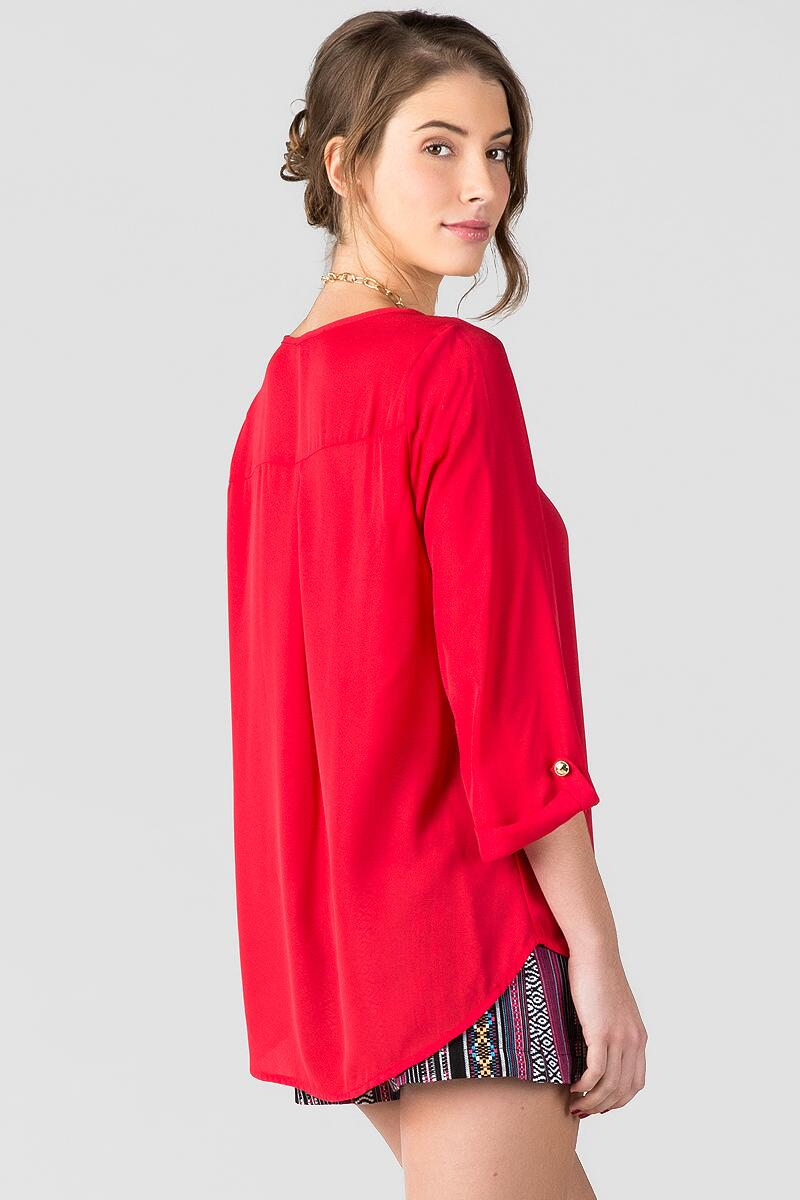 Stadium Solid Blouse in Red-  red-clback