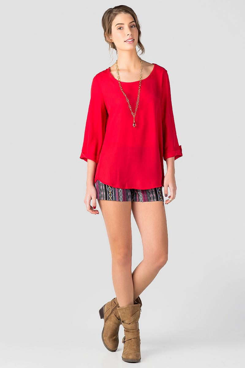 Stadium Solid Blouse in Red-  red-clmodel