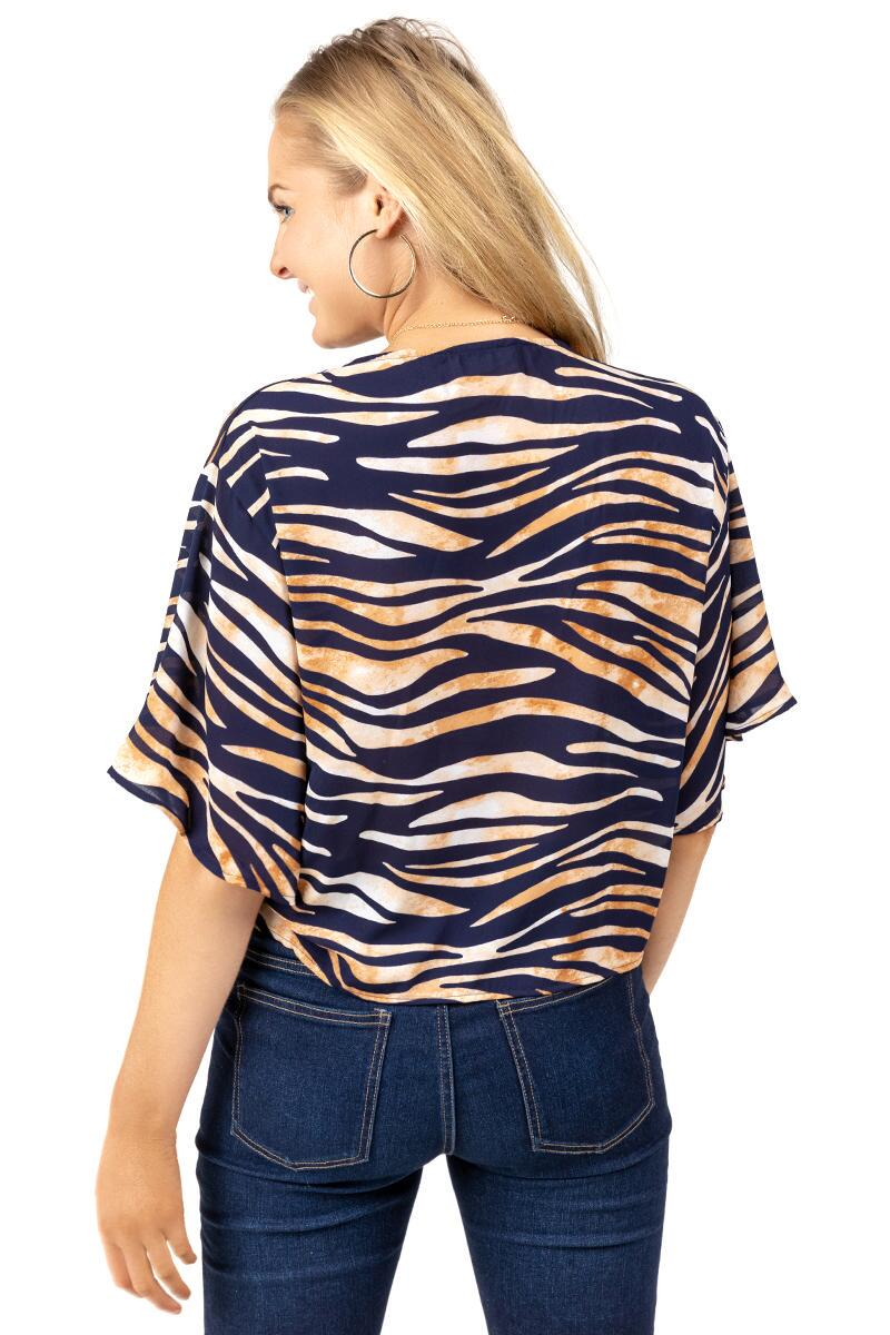 Cadence Tiger Print Blouse-  taup-cl2