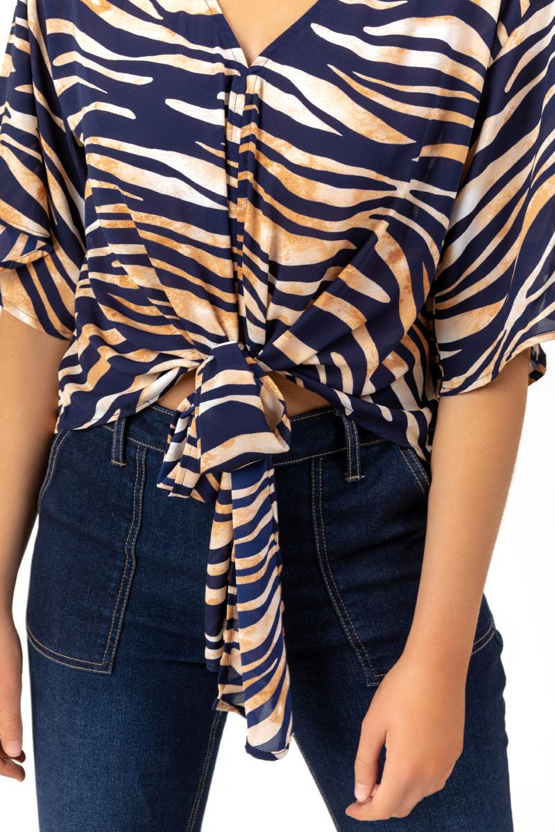 Cadence Tiger Print Blouse-  taup-cl3