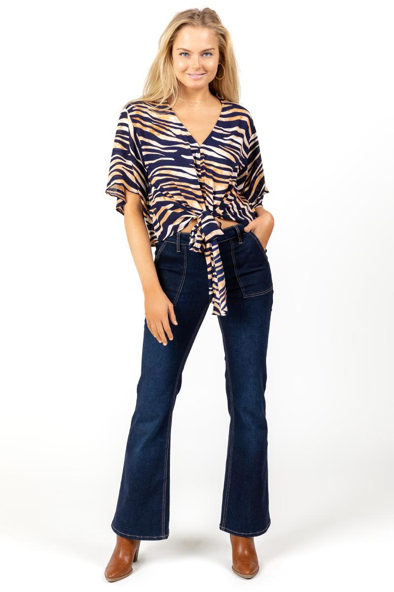 Cadence Tiger Print Blouse-  taup-cl4