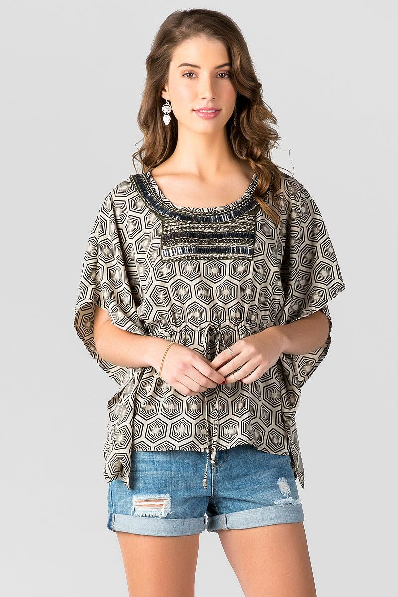Selma Embellished Blouse-  blk-cl