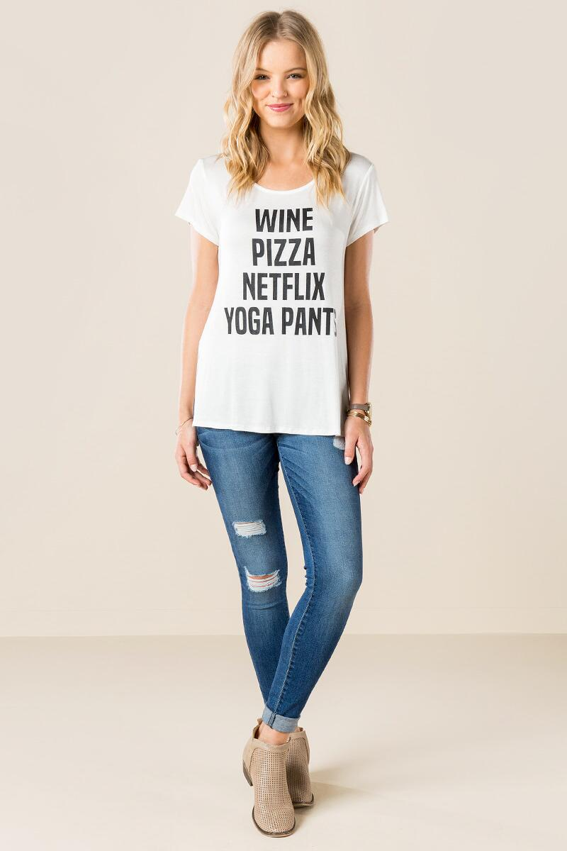 Wine Pizza Netflix Yoga Pants Graphic Tee-  white-clmodel