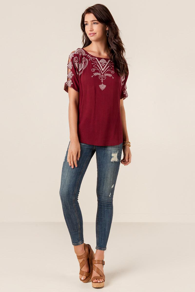 Dionne Embroidered Blouse-  burg-clmodel