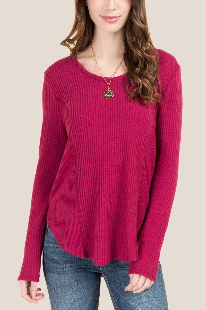 Marcella Cozy Waffle Knit Top