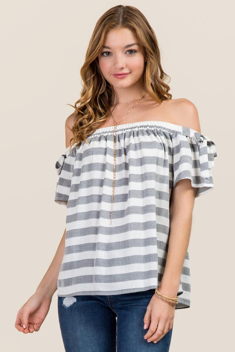 Charley Striped Off The Shoulder Top