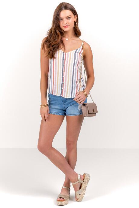Abella Striped Button Tank Top