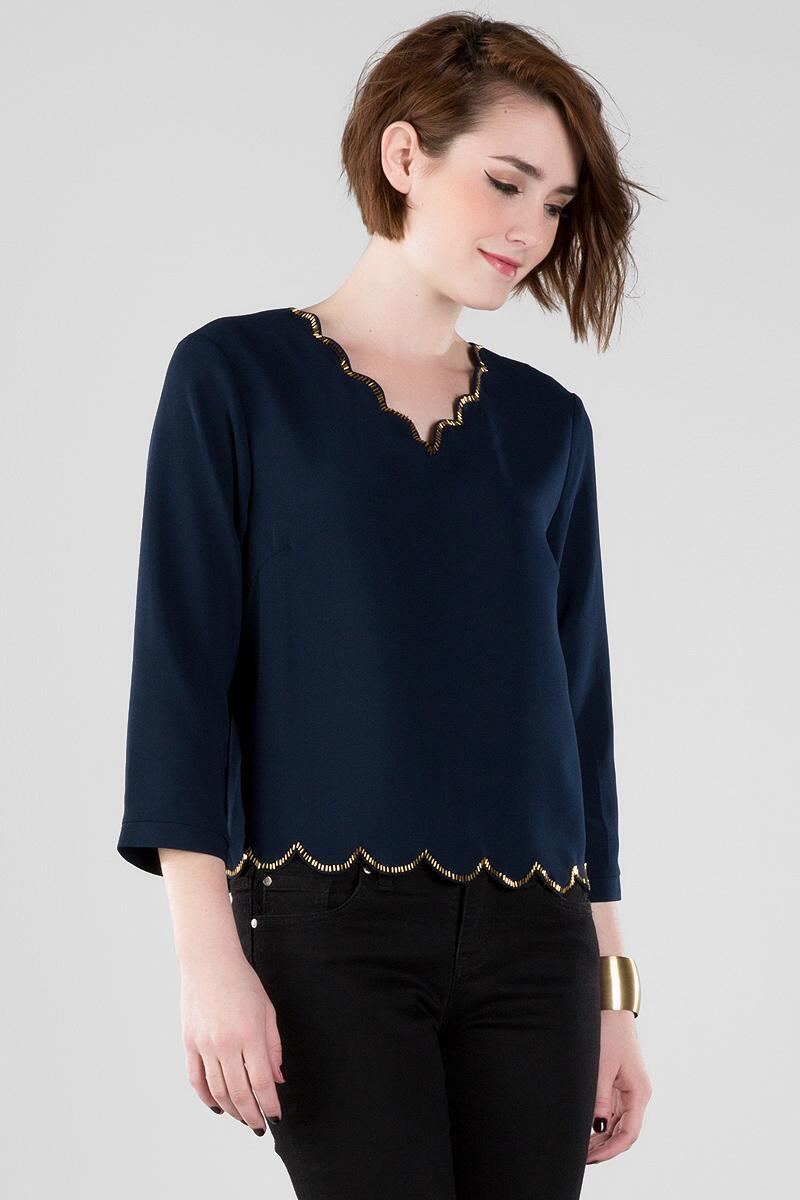 Shaley Scalloped Blouse-  navy-cl