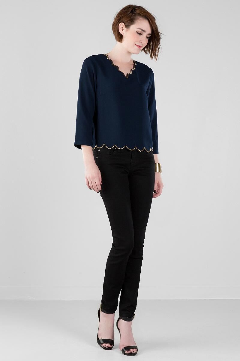 Shaley Scalloped Blouse-  navy-clmodel