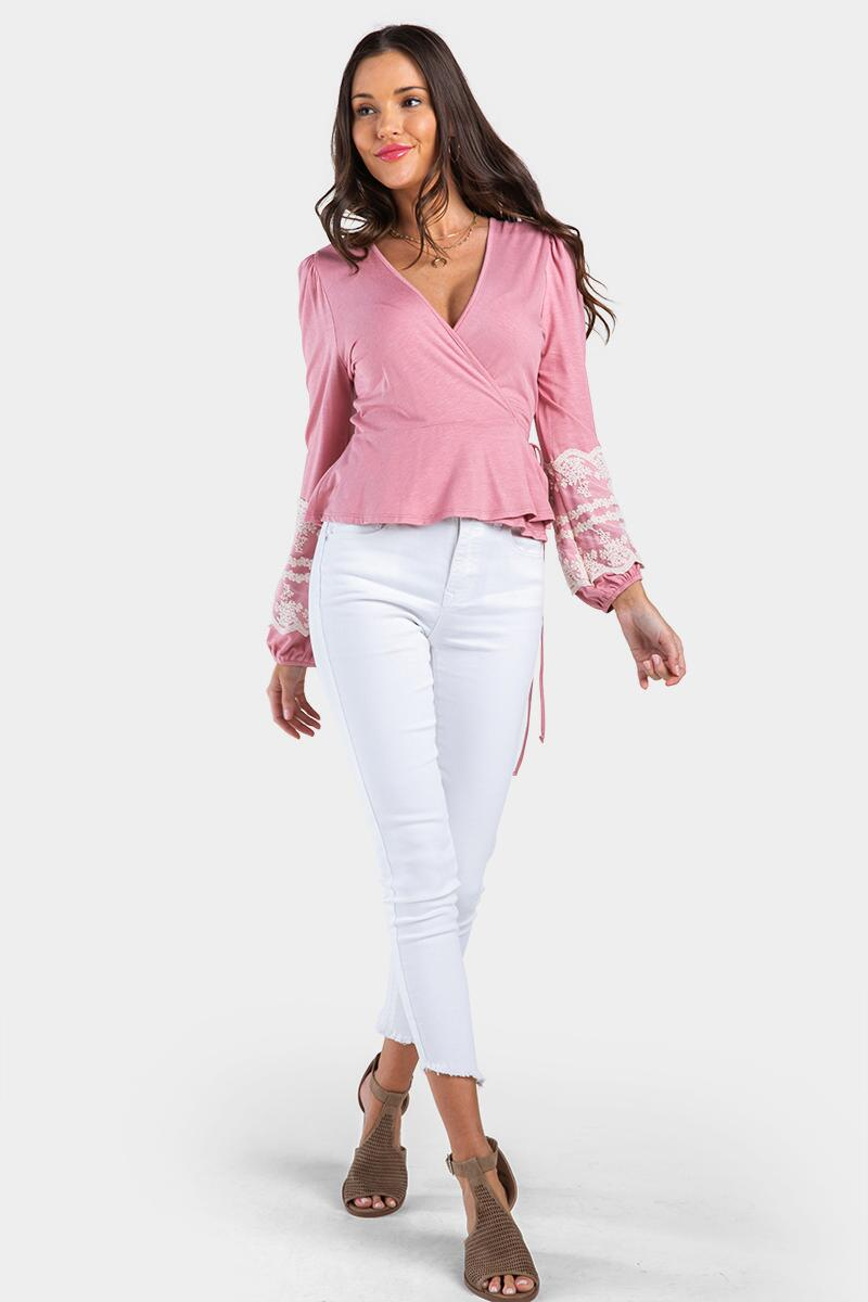Kendlee Embroidered Sleeve Blouse-Rose