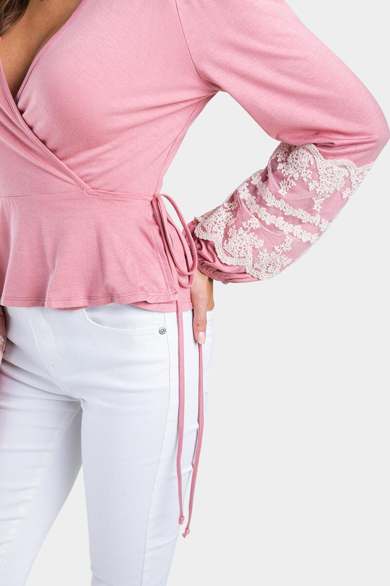 Kendlee Embroidered Sleeve Blouse-Rose 3