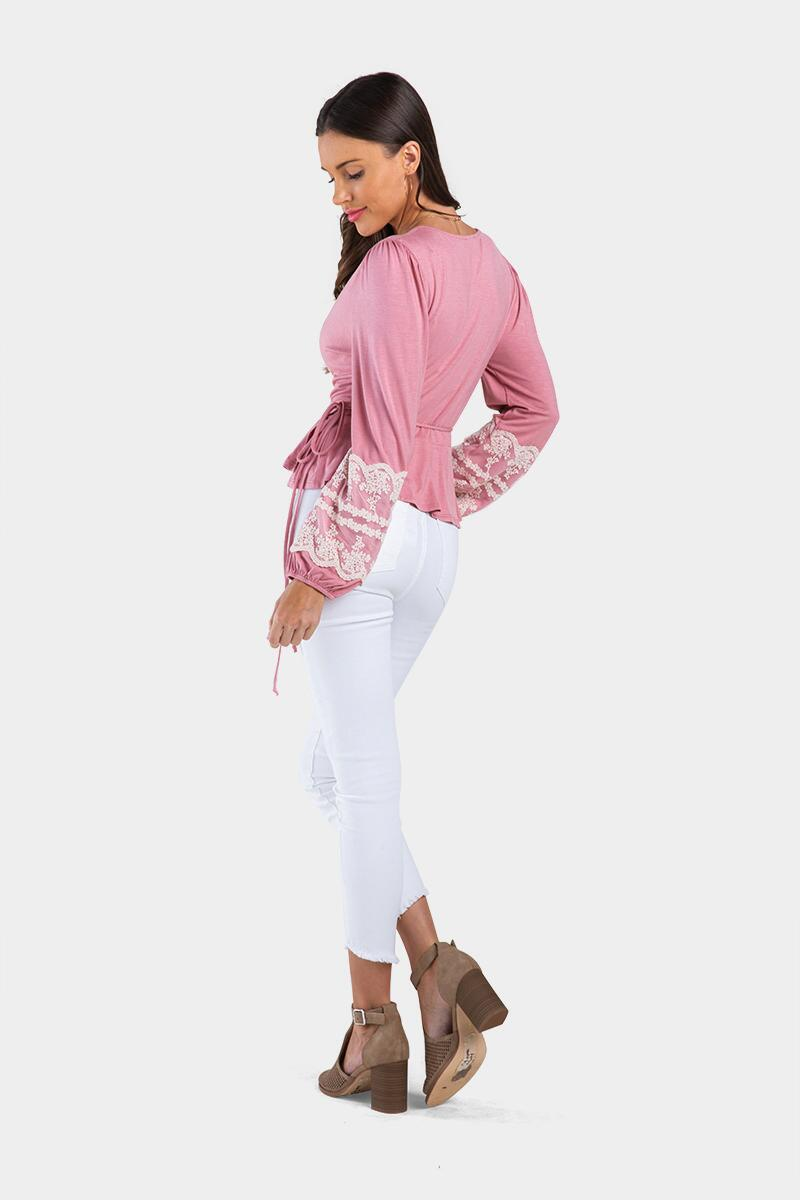 Kendlee Embroidered Sleeve Blouse-Rose 4
