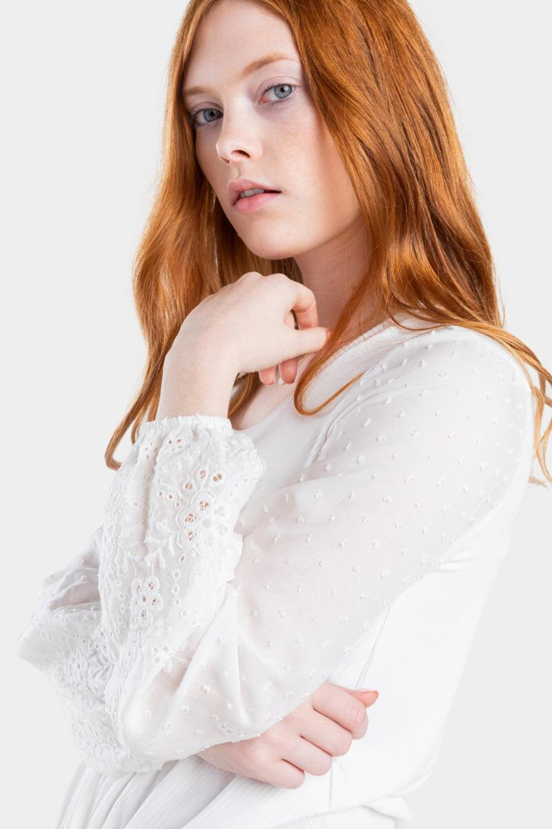 Nella Embroidered Front Knot Blouse-  white-cl4