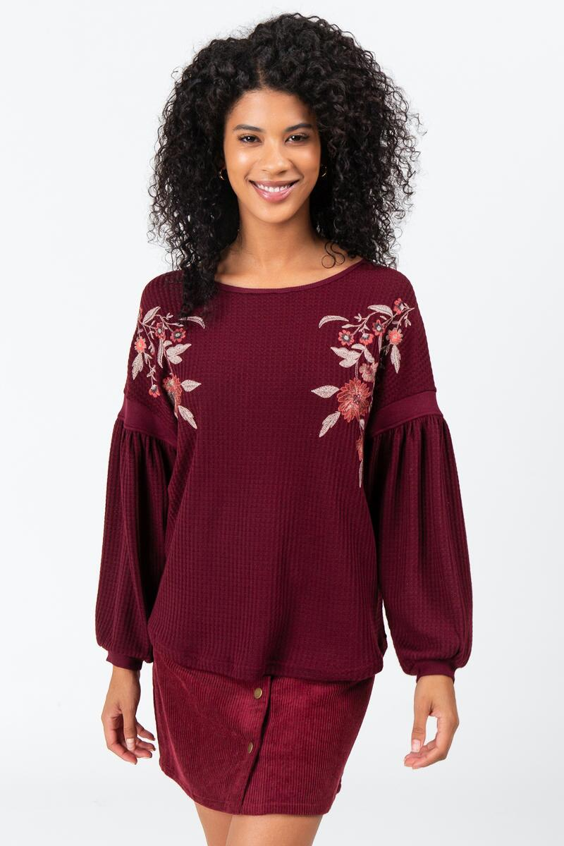 Evan Embroidered Sweater- Wine
