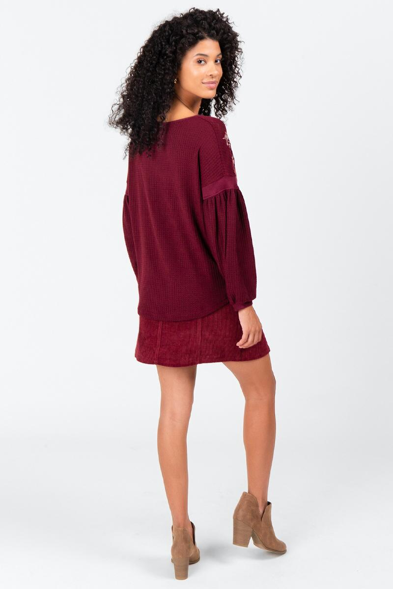 Evan Embroidered Sweater- Wine 2
