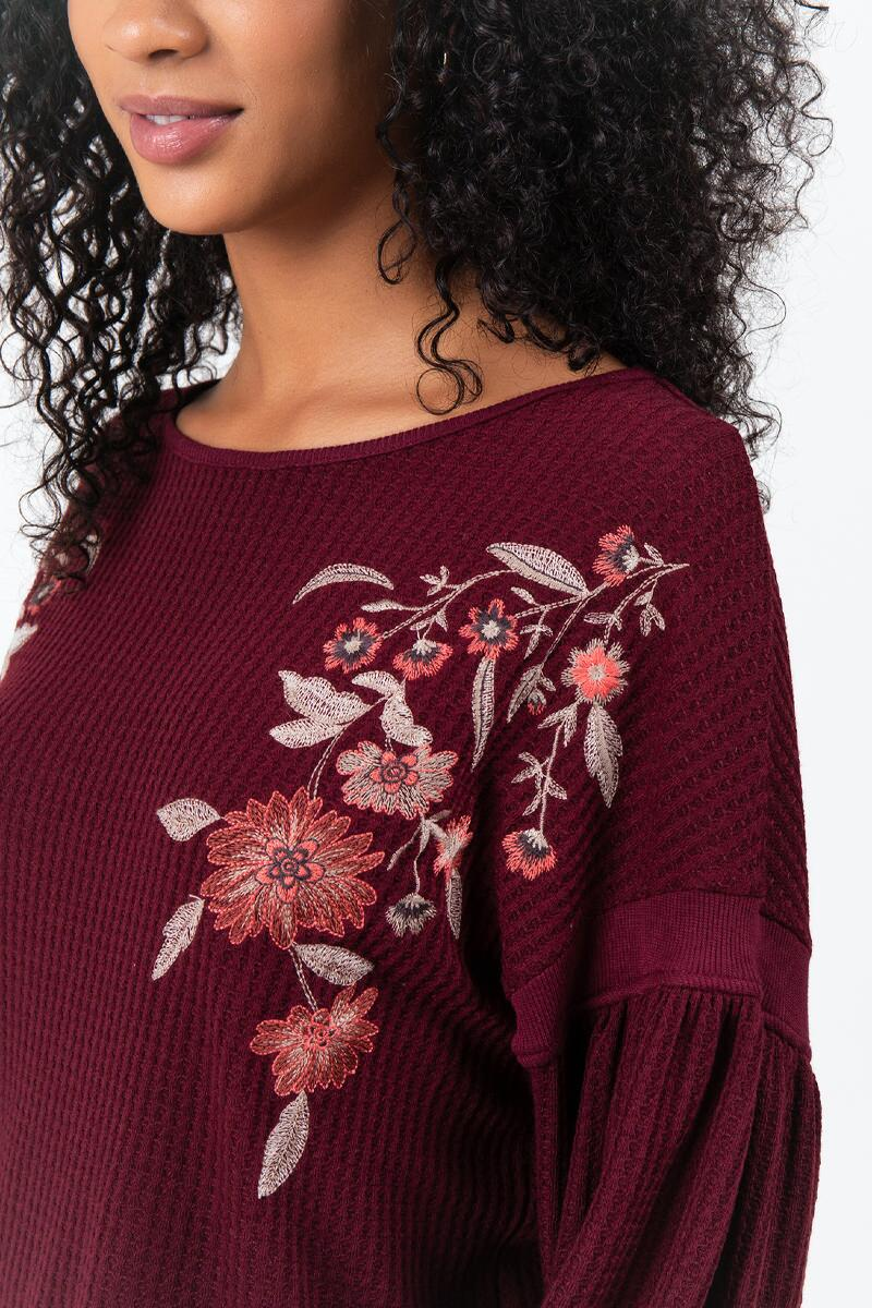 Evan Embroidered Sweater- Wine 4