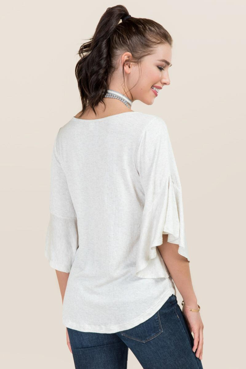 Lacce Ruffle Sleeve Knit Top-  hthot-clback