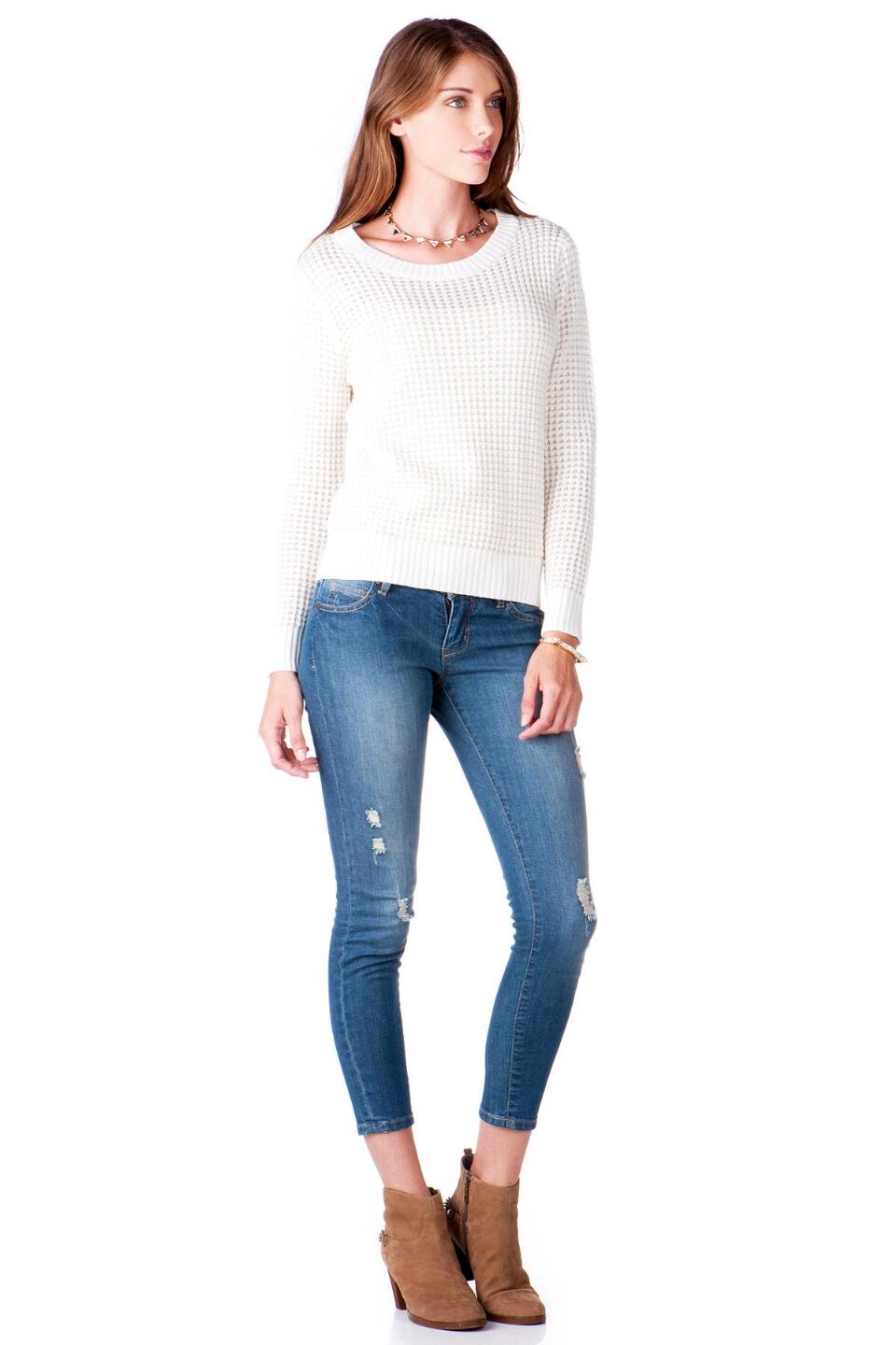 Texoma Textured Sweater-  ivry-clmodel