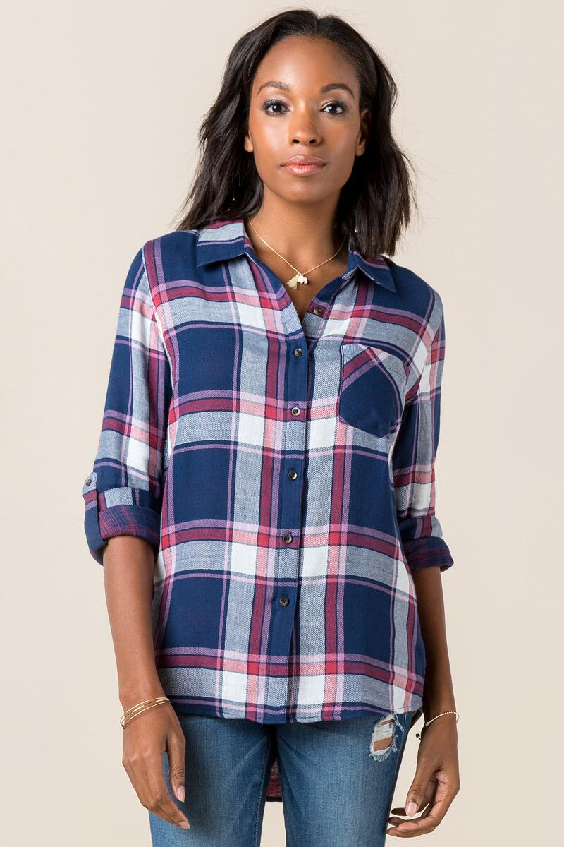 Darla Plaid Button Down Top-  navy-cl